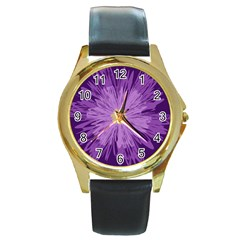 Purple Flower Floral Purple Flowers Round Gold Metal Watch