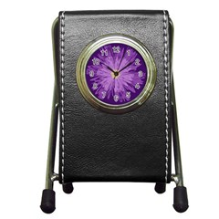 Purple Flower Floral Purple Flowers Pen Holder Desk Clocks
