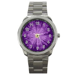 Purple Flower Floral Purple Flowers Sport Metal Watch