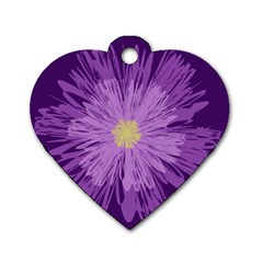 Purple Flower Floral Purple Flowers Dog Tag Heart (Two Sides)