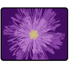 Purple Flower Floral Purple Flowers Fleece Blanket (Medium)
