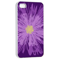 Purple Flower Floral Purple Flowers Apple Iphone 4/4s Seamless Case (white)