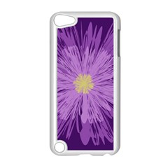 Purple Flower Floral Purple Flowers Apple Ipod Touch 5 Case (white)