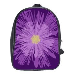 Purple Flower Floral Purple Flowers School Bags (xl)