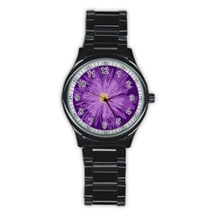 Purple Flower Floral Purple Flowers Stainless Steel Round Watch