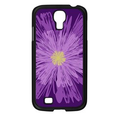 Purple Flower Floral Purple Flowers Samsung Galaxy S4 I9500/ I9505 Case (Black)