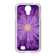 Purple Flower Floral Purple Flowers Samsung Galaxy S4 I9500/ I9505 Case (white)
