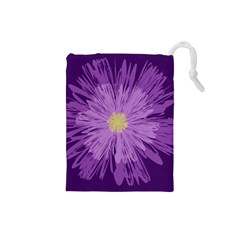 Purple Flower Floral Purple Flowers Drawstring Pouches (small)