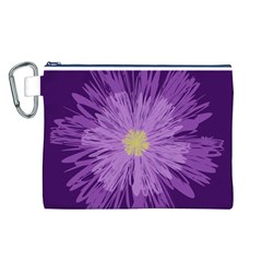 Purple Flower Floral Purple Flowers Canvas Cosmetic Bag (l)