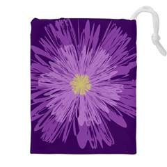 Purple Flower Floral Purple Flowers Drawstring Pouches (xxl)