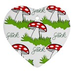 Mushroom Luck Fly Agaric Lucky Guy Ornament (Heart) Front