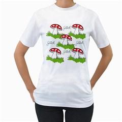 Mushroom Luck Fly Agaric Lucky Guy Women s T-Shirt (White) (Two Sided)