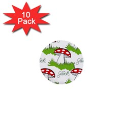 Mushroom Luck Fly Agaric Lucky Guy 1  Mini Buttons (10 pack)