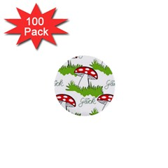 Mushroom Luck Fly Agaric Lucky Guy 1  Mini Buttons (100 Pack)