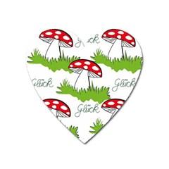 Mushroom Luck Fly Agaric Lucky Guy Heart Magnet