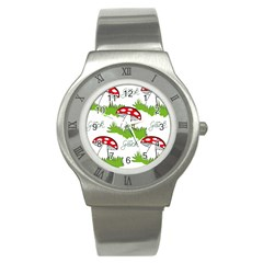 Mushroom Luck Fly Agaric Lucky Guy Stainless Steel Watch
