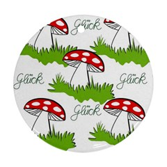 Mushroom Luck Fly Agaric Lucky Guy Round Ornament (two Sides)