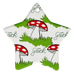 Mushroom Luck Fly Agaric Lucky Guy Star Ornament (Two Sides)