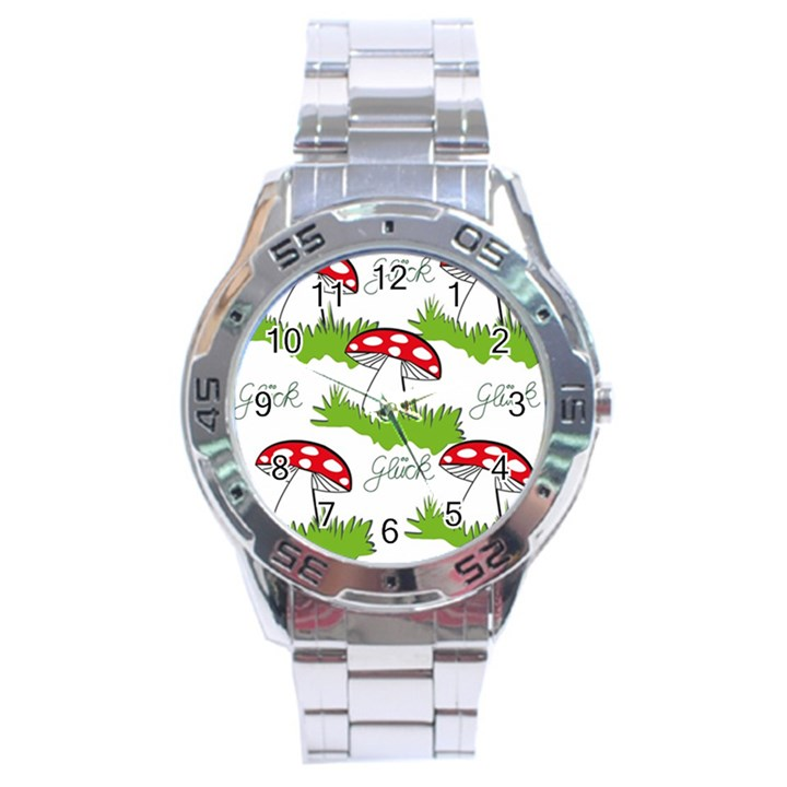 Mushroom Luck Fly Agaric Lucky Guy Stainless Steel Analogue Watch