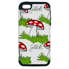 Mushroom Luck Fly Agaric Lucky Guy Apple Iphone 5 Hardshell Case (pc+silicone)