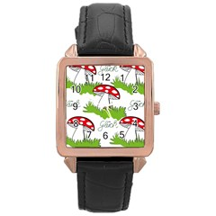 Mushroom Luck Fly Agaric Lucky Guy Rose Gold Leather Watch