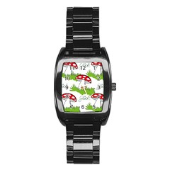 Mushroom Luck Fly Agaric Lucky Guy Stainless Steel Barrel Watch