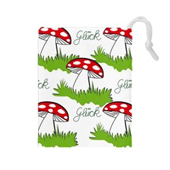 Mushroom Luck Fly Agaric Lucky Guy Drawstring Pouches (Large)