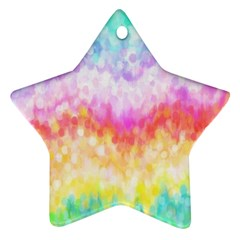Rainbow Pontilism Background Ornament (Star)