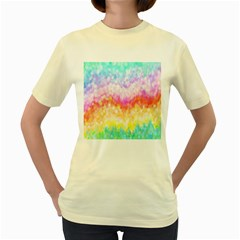 Rainbow Pontilism Background Women s Yellow T Shirt