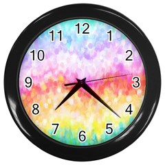 Rainbow Pontilism Background Wall Clocks (Black)
