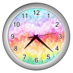 Rainbow Pontilism Background Wall Clocks (Silver)