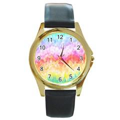 Rainbow Pontilism Background Round Gold Metal Watch