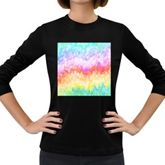 Rainbow Pontilism Background Women s Long Sleeve Dark T Shirts