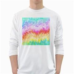 Rainbow Pontilism Background White Long Sleeve T-Shirts