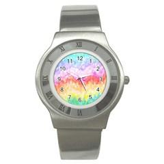 Rainbow Pontilism Background Stainless Steel Watch
