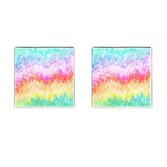 Rainbow Pontilism Background Cufflinks (square)