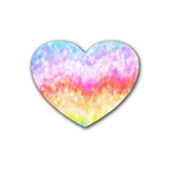 Rainbow Pontilism Background Heart Coaster (4 pack)