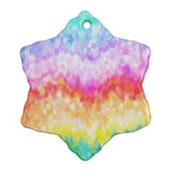 Rainbow Pontilism Background Snowflake Ornament (two Sides)