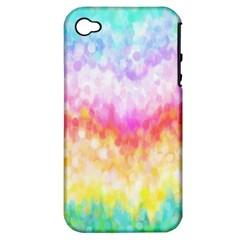Rainbow Pontilism Background Apple Iphone 4/4s Hardshell Case (pc+silicone)
