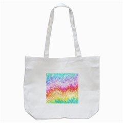 Rainbow Pontilism Background Tote Bag (white)