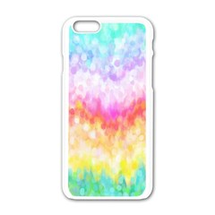 Rainbow Pontilism Background Apple Iphone 6/6s White Enamel Case