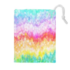 Rainbow Pontilism Background Drawstring Pouches (Extra Large)