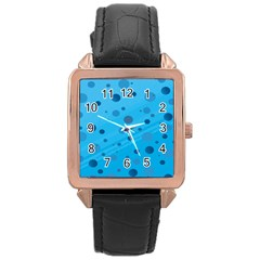 Decorative dots pattern Rose Gold Leather Watch