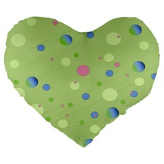 Decorative dots pattern Large 19  Premium Flano Heart Shape Cushions