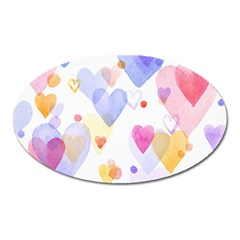Watercolor cute hearts background Oval Magnet