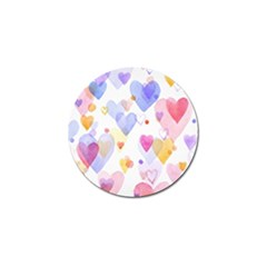 Watercolor cute hearts background Golf Ball Marker (10 pack)