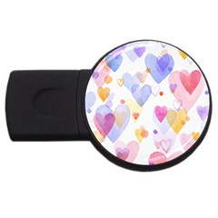 Watercolor cute hearts background USB Flash Drive Round (4 GB)