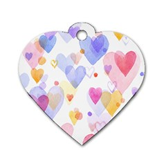 Watercolor cute hearts background Dog Tag Heart (One Side)