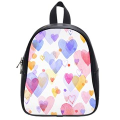 Watercolor cute hearts background School Bags (Small)