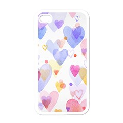 Watercolor Cute Hearts Background Apple Iphone 4 Case (white)